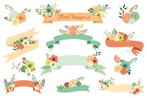 Floral Banners III. Vector Set