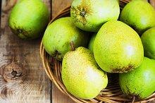 Fresh organic pears on old wood. Pear autumn harvest