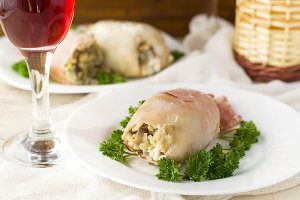 Stuffed squid on the festive table