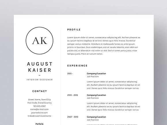 August Kaiser - Resume/CV Template ~ Resume Templates ~ Creative Market