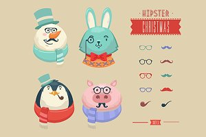 Christmas hipster animals