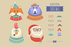 Christmas hipster animals. Set 2