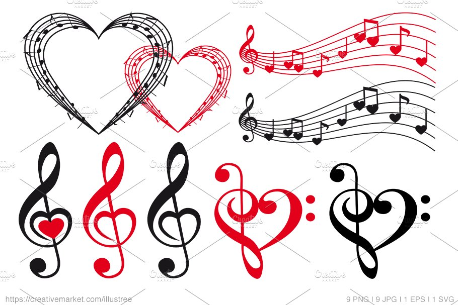 Heart with music notes Royalty Free Vector Image