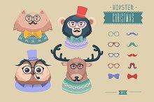 Christmas hipster animals. Set 3