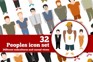 People icons big set in flat style