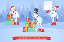 Set of snowmans