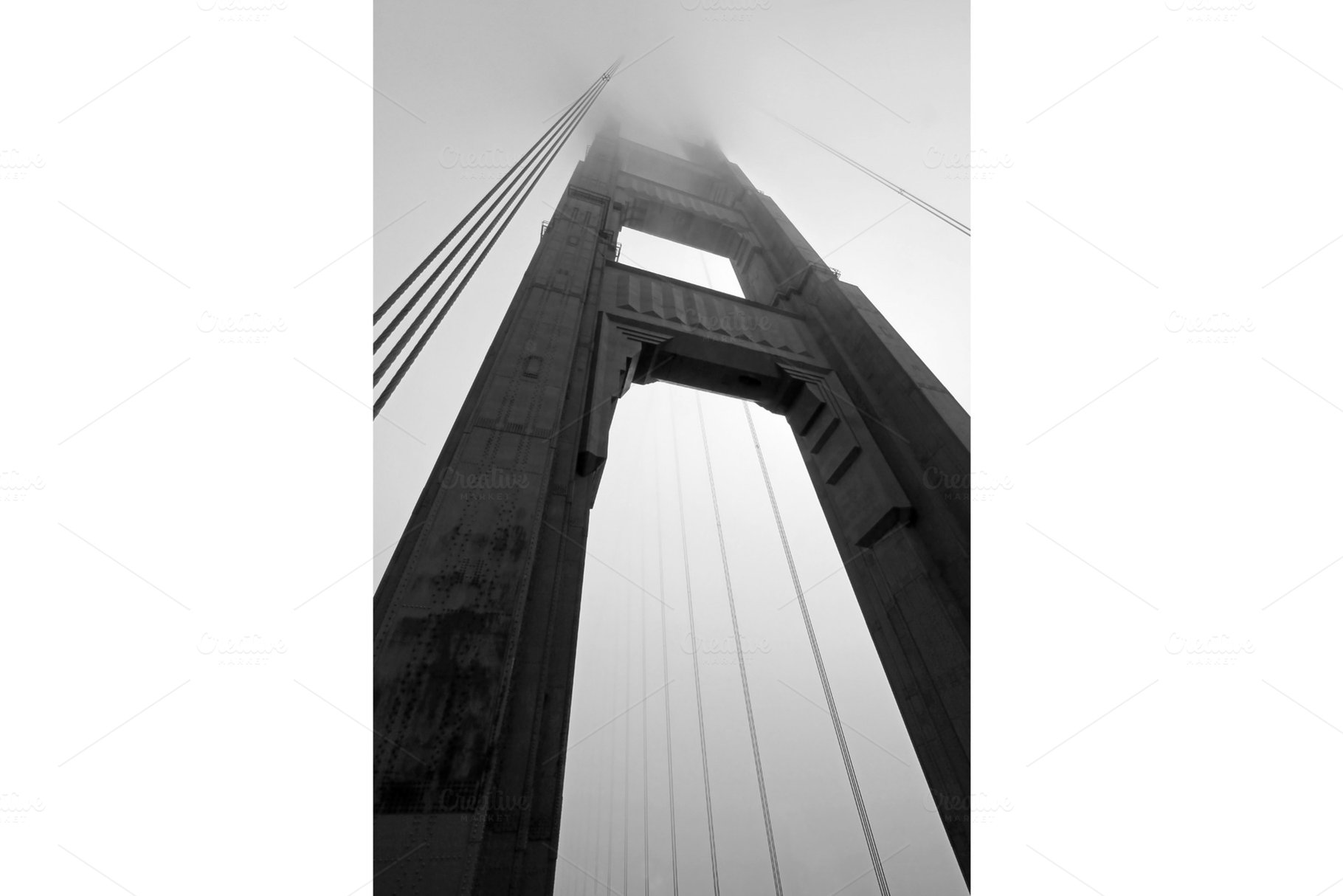 Golden Gate Bridge Tower In Black