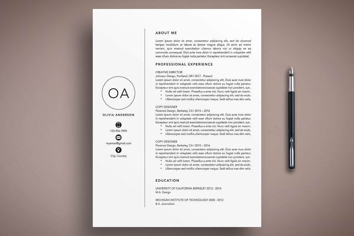 Modern Resume CV Template Mac + PC ~ Cover Letter Templates ...