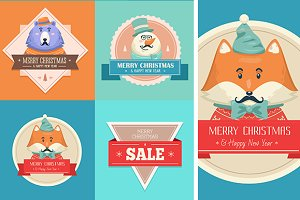 Christmas hipster animals. Sale card