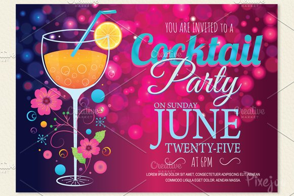 Cocktail Party Invitation Card Card Templates Creative Market - Party invitation template: club party invitation template