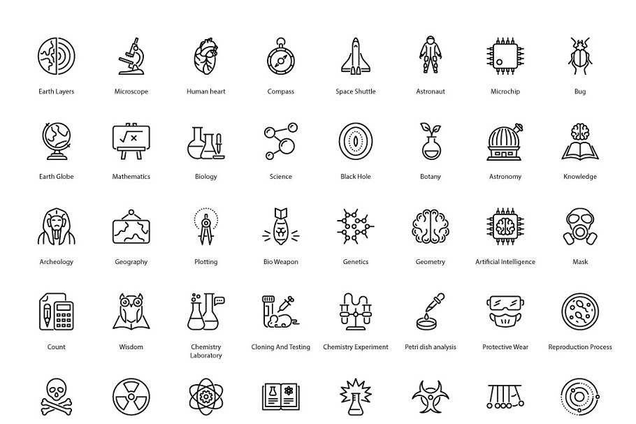 Science Related Thin Line Icons