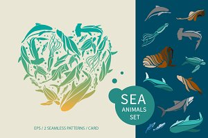 Vector sea animals collection