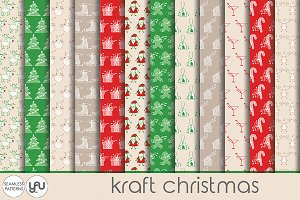 "Kraft digital paper: ""CHRISTMAS"""