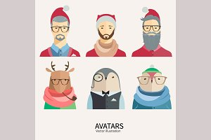 Hipster Christmas avatars