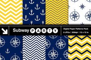 Nautical Navy & Yellow Papers v1