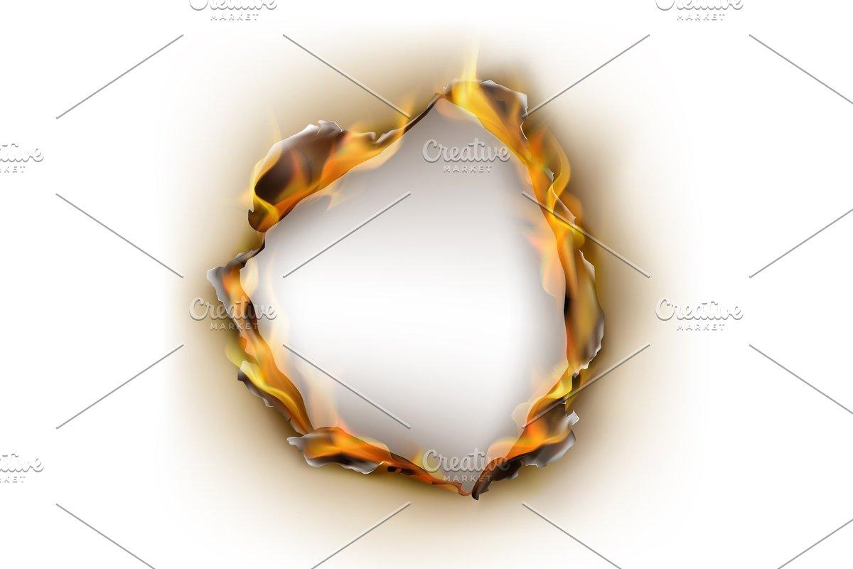 Vector realistic burnt paper, flames