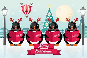 penguin christmas carolers vector