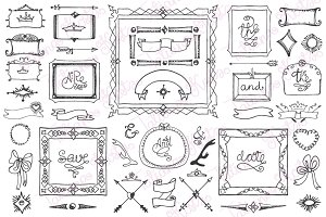 Doodle frame,decor elements 04