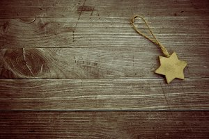 golden vintage wooden christmas star