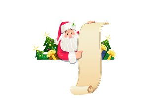 Santa Claus with scroll and gift