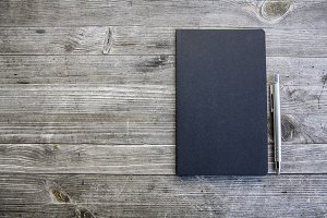 clean black notebook