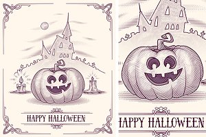 Horror card with funny pumpkin