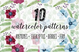 10 Anemone Watercolor Patterns