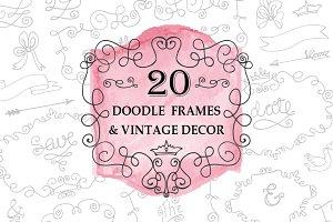 Doodle swirling frames.Vintage set