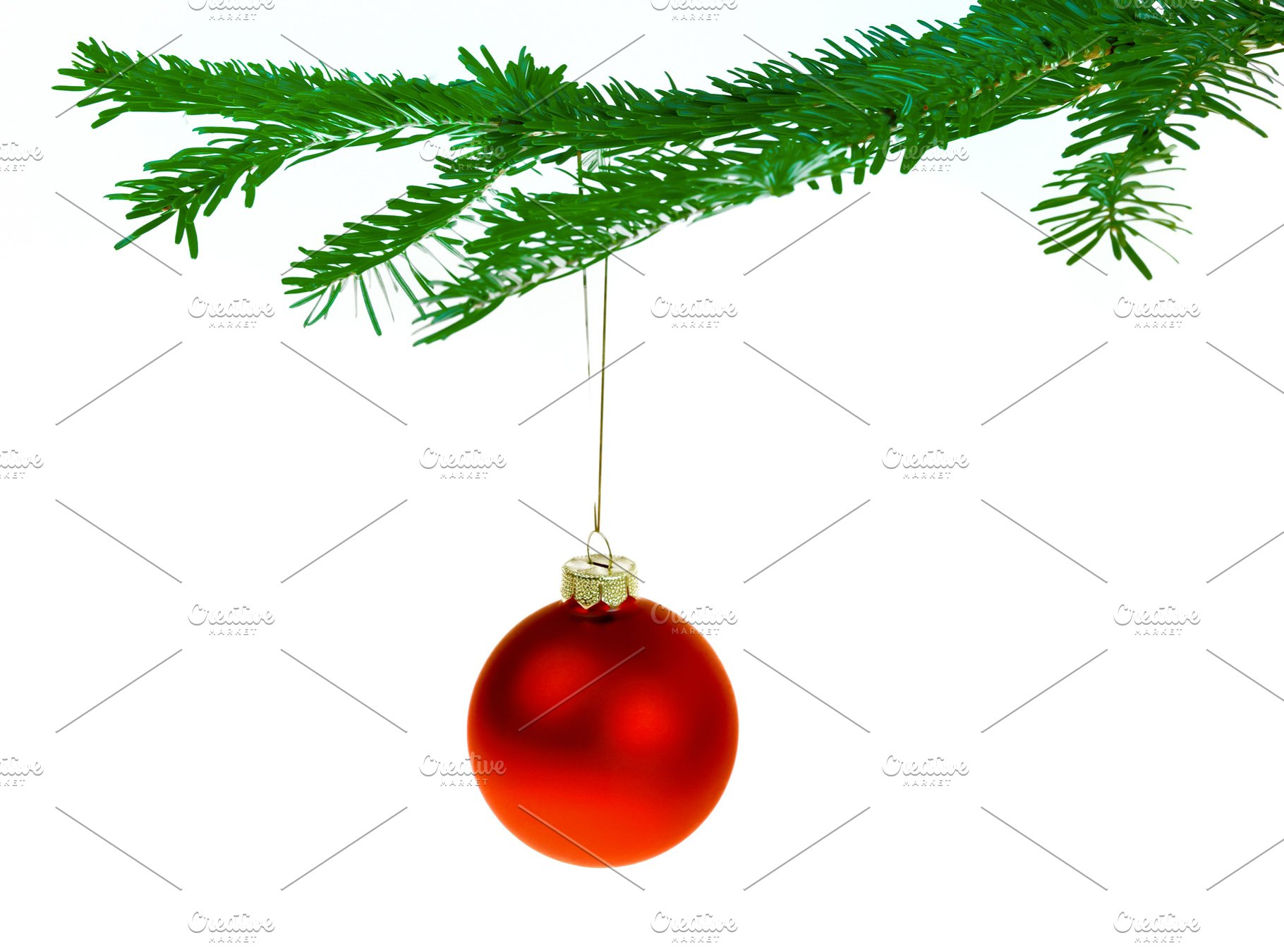 Red Christmas Tree.Red Christmas Decorations On A Branc