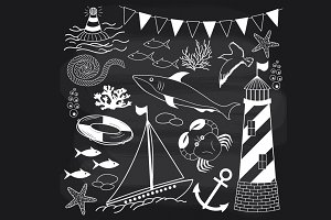 Chalkboard Nautical set