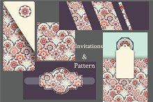 Set of Cards and seamless pattern