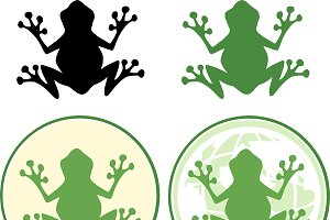 Frog Silhouette Design Collection