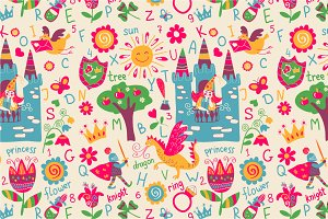 "Seamless pattern ""Fabulous alphabet"""