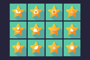 Long Shadow Ecology & Stars Icon Set