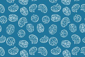 Brains on blue seamless pattern