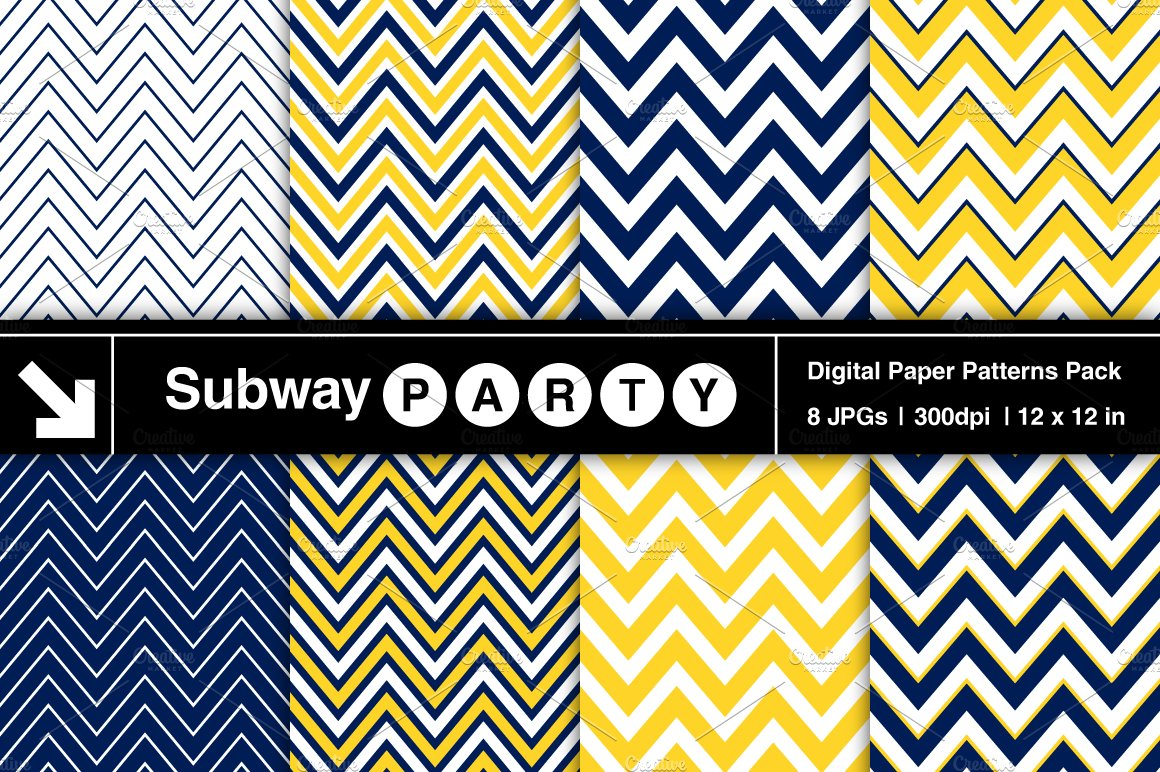navy blue yellow chevron papers graphic patterns creative market