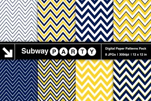 Navy Blue & Yellow Chevron Papers