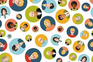 Coloutful user avatars flat pattern