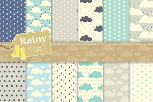 Rainy Day Digital Paper Set