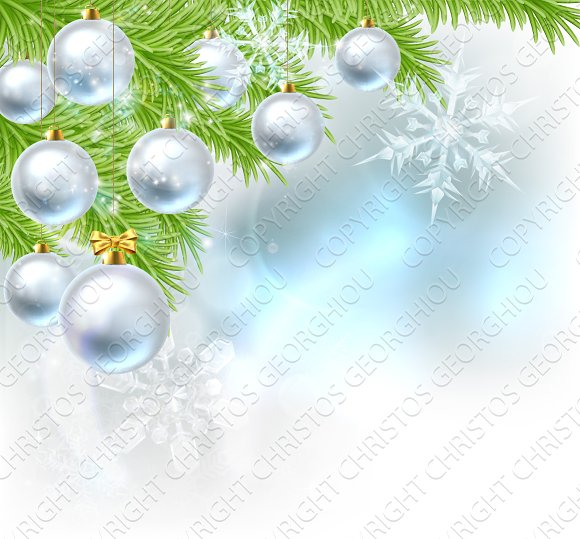 Christmas Tree Baubles Background in Illustrations