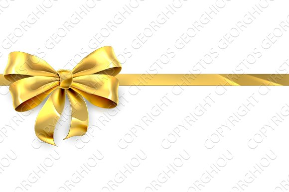 gold bow ribbon gift ribbon graphics creative market