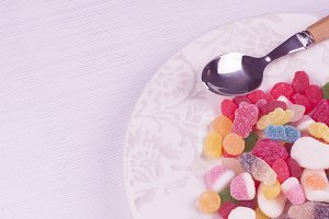 Candy dish and spoon