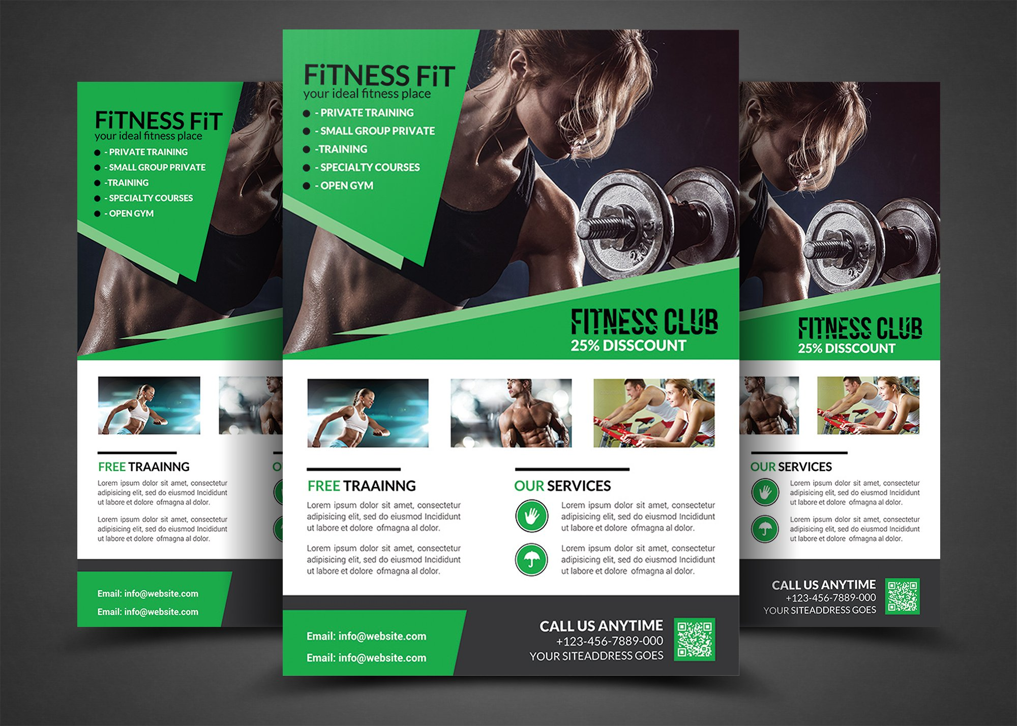 fitness flyer gym flyer templates flyer templates creative market. Black Bedroom Furniture Sets. Home Design Ideas