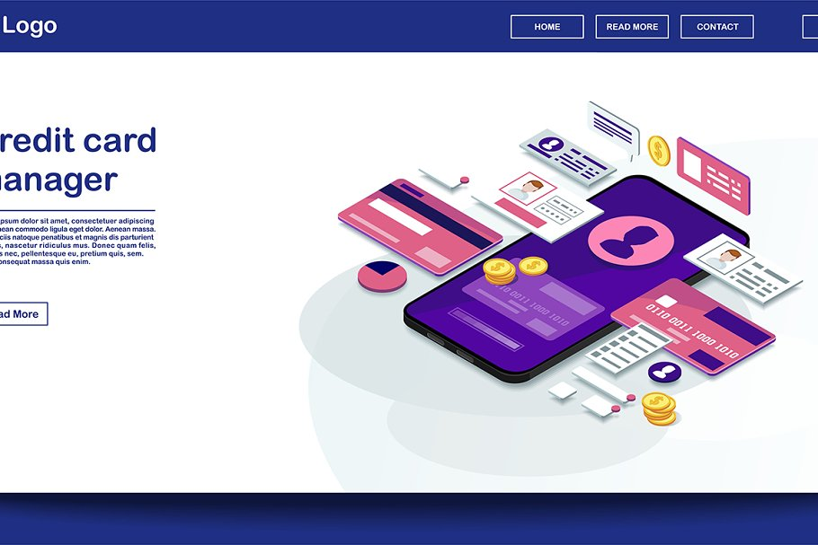 Credit Card Manager Webpage Template