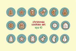 vector christmas cookies set