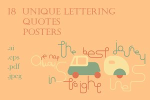 18 Lettering Quotes. Vector Posters.