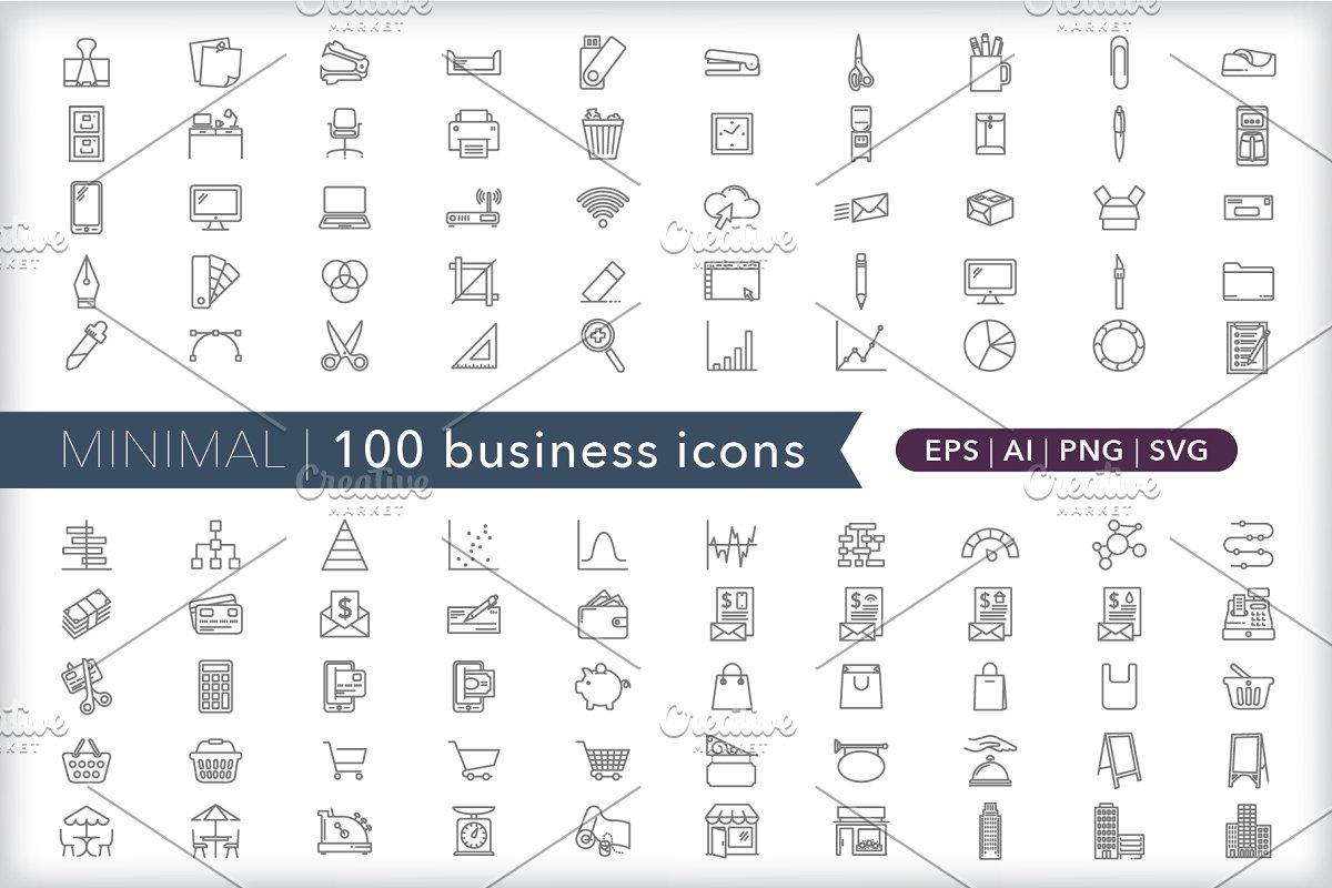 Minimal 100 business icons
