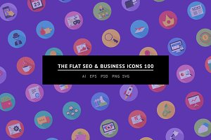 The Flat SEO & Business Icons 100