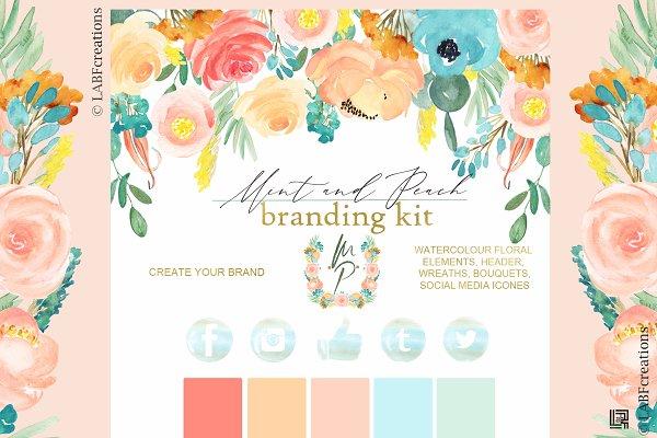Mint blue & Peach Branding kit