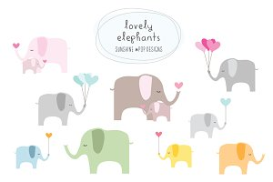 Lovely Elephants (Vector File)